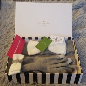KATE SPADE ♠️ Beanie and Glove Color Block Bow Set